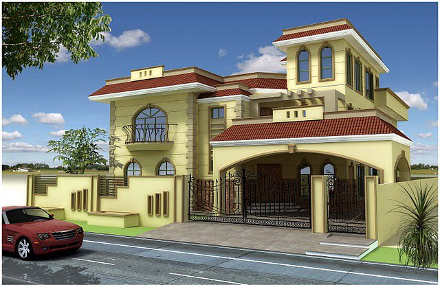... kanal, 10 Marla Plan, 3d Front elevation of House Beautiful design