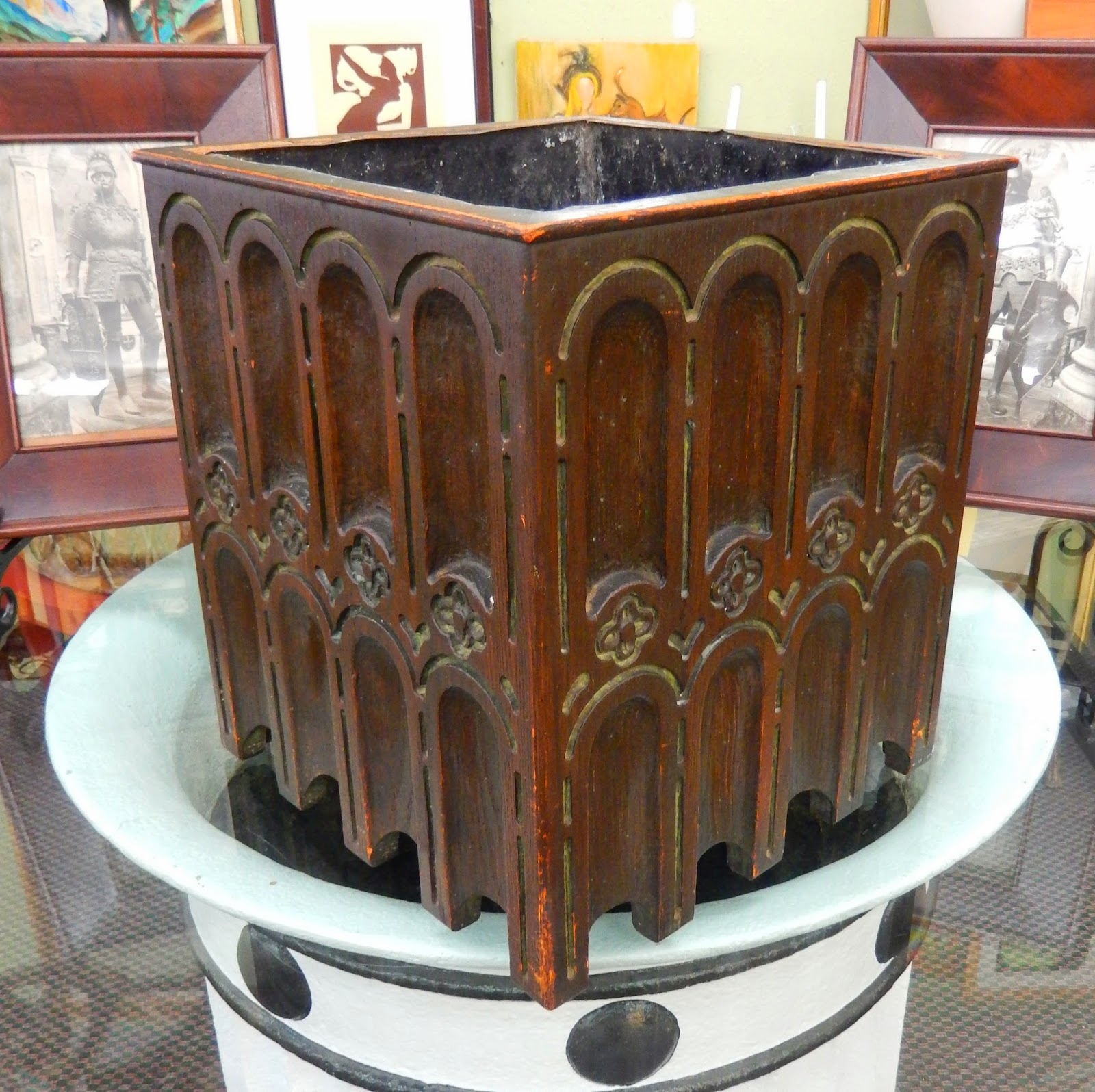 Vintage Unusual Hand Carved Gothic, Arts & Crafts Wooden Planter Box