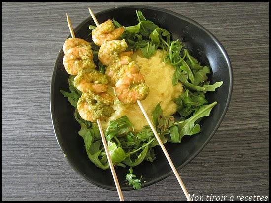 brochettes de crevettes au pesto