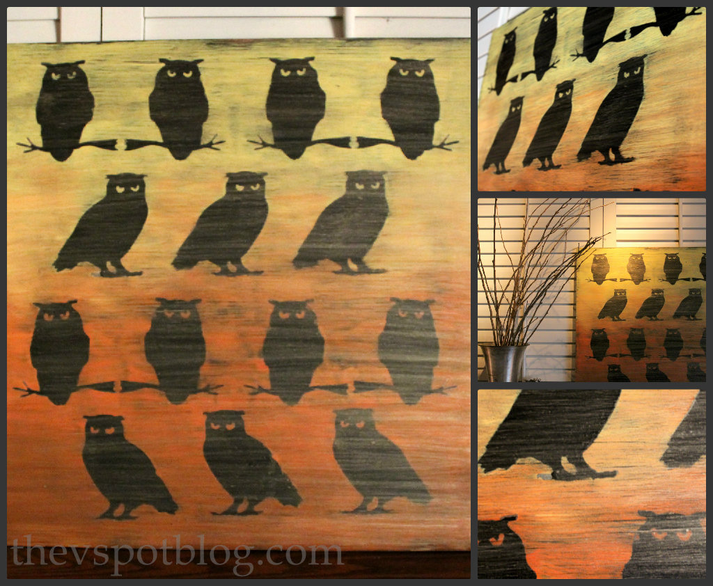 ombre owl artwork from dollar store halloween decor