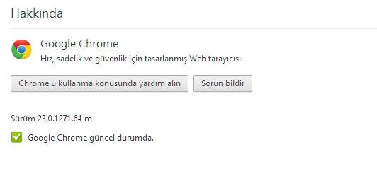 Google Chrome 23 Yükseltme