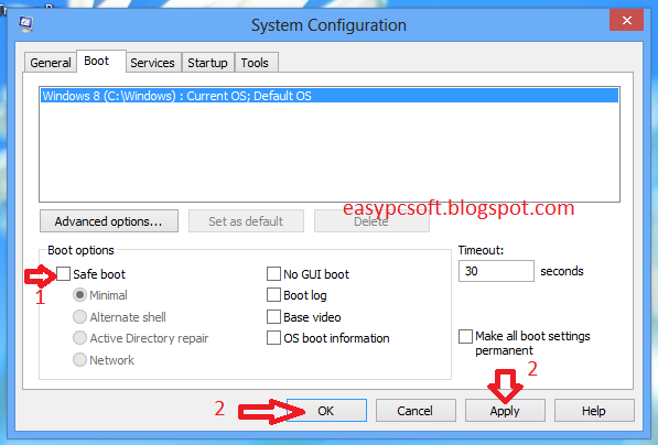 tick the safe boot option