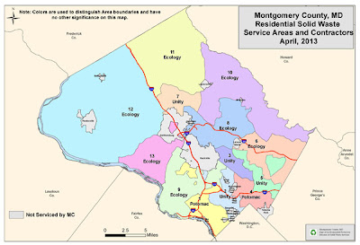 Map of residential solid waste service areas in Montgomery County, Maryland