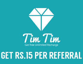 Refer and Earn Free Recharge from Tim Tim App: Rs 15 Per Referral