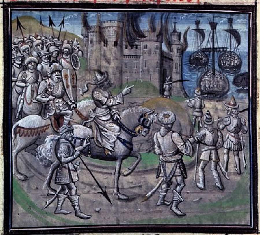 A invasão das terras cristãs pelos maometanos foi sinônimo de crimes de massa hediondos, incêndios, pilhagens, escravidão e violação generalizada do Direito. Na gravura: Saladino manda incendiar uma cidade