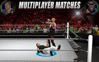 Screenshots of the WWE 2K for Android tablet, phone.