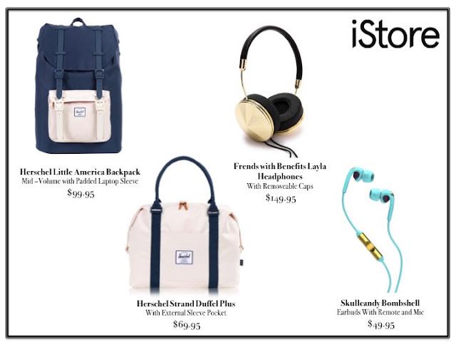 iStore Herschel bags Frends headphones Skullcandy earbuds