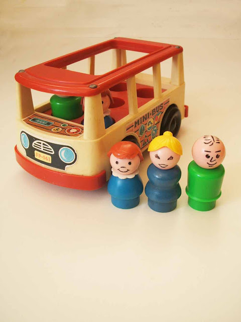 vintage Fisher Price mini bus children's toy