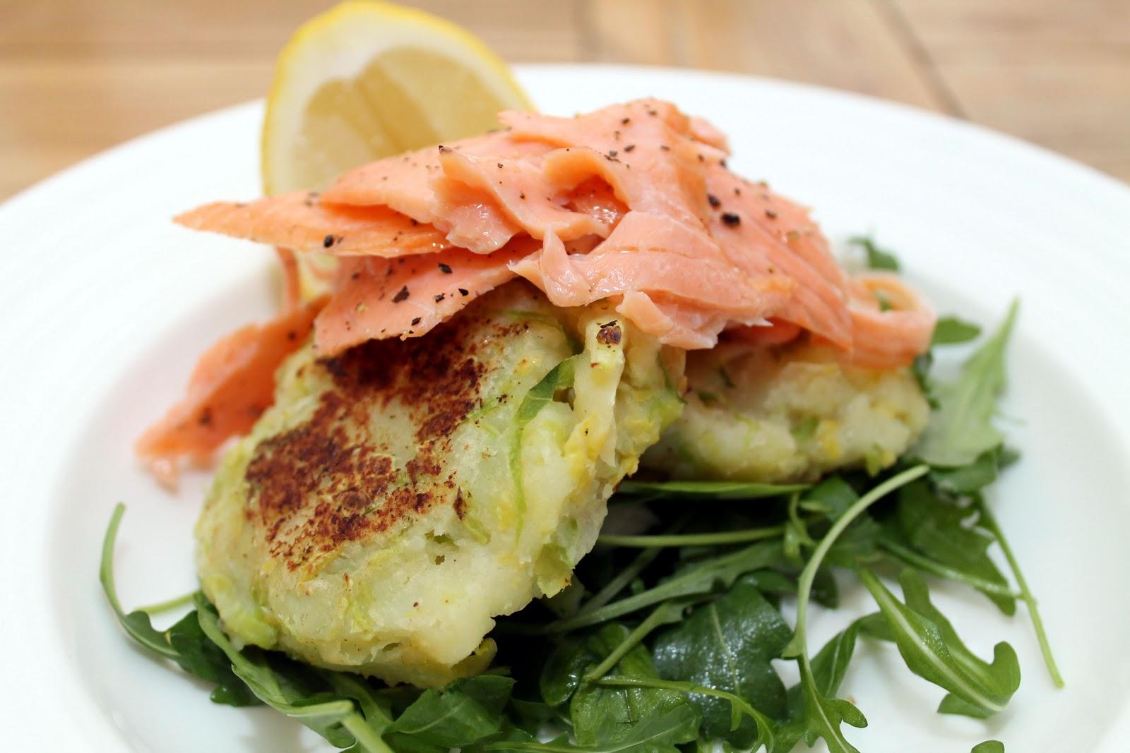 Colcannon Cakes with Warm Smoked Salmon
