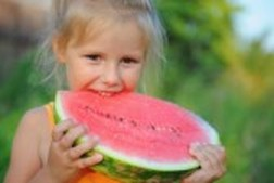Little  girl enjoying a very big wedge of watermelon