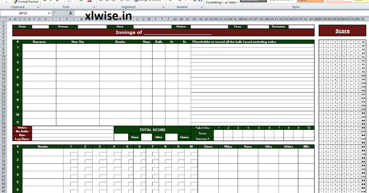 Cricket Score Sheet - 50 Overs - Excel, the wise way