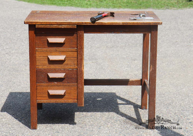 Vintage Oak Desk, Bliss-Ranch.com