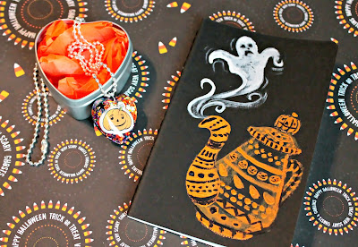 Pumpkin Resin Necklace and Haunted Tea Pot Notebook by I Sew Cute