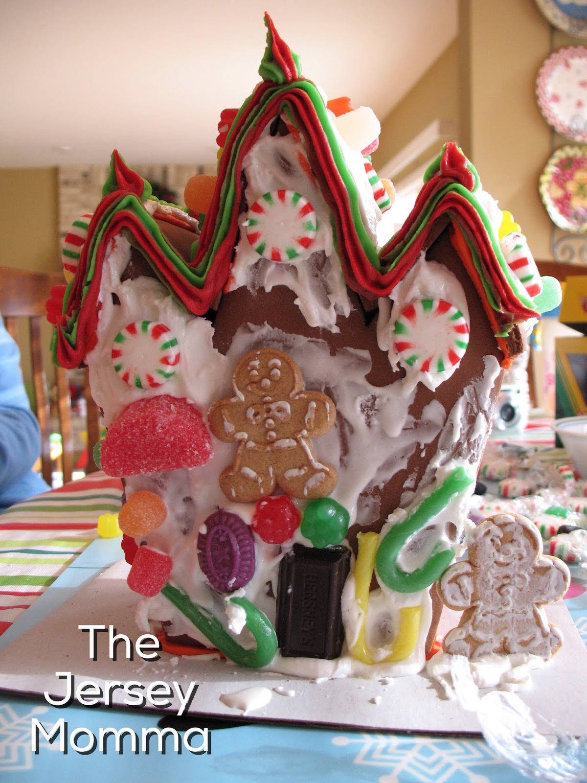 this house was created using a halloween gingerbread house kit from the previous year