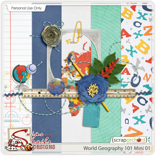 World Geography 101 Digital Scrapbook Freebie by Snips and Snails Designs