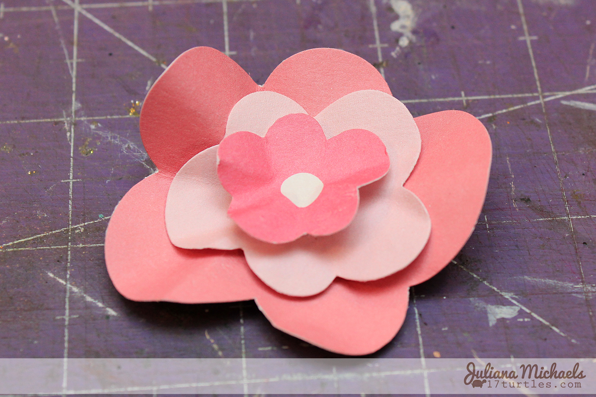 Step 6 - 3 Dimensional Die Cut Cardstock Flowers Tutorial by Juliana Michaels www.17turtles.com