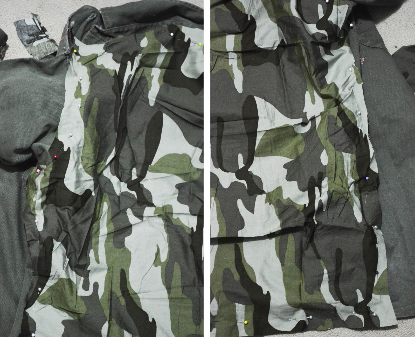 camouflage camo fabric pins khaki shirt diy