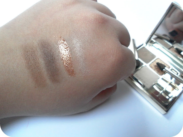 A picture of swatches of the Clarins Odyssey Eye Quarter Mineral Palette