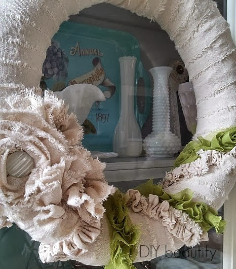 Drop Cloth Shabby Spring Wreath