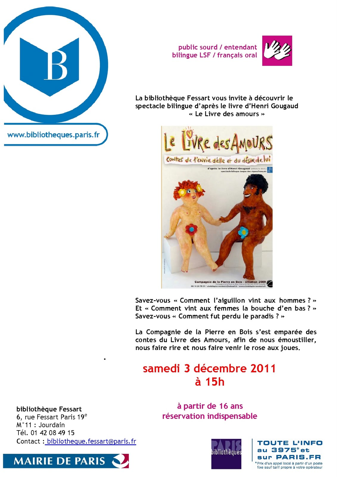 Delfi delfi joue le livre des amours samedi 3 d cembre - Livraison chronopost le samedi ...
