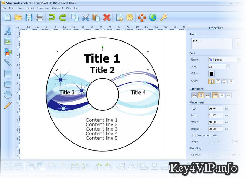 RonyaSoft CD DVD Label Maker 3.01.30 Full Key,Phần mềm thiết kế bì đĩa,nhãn đĩa dễ dàng