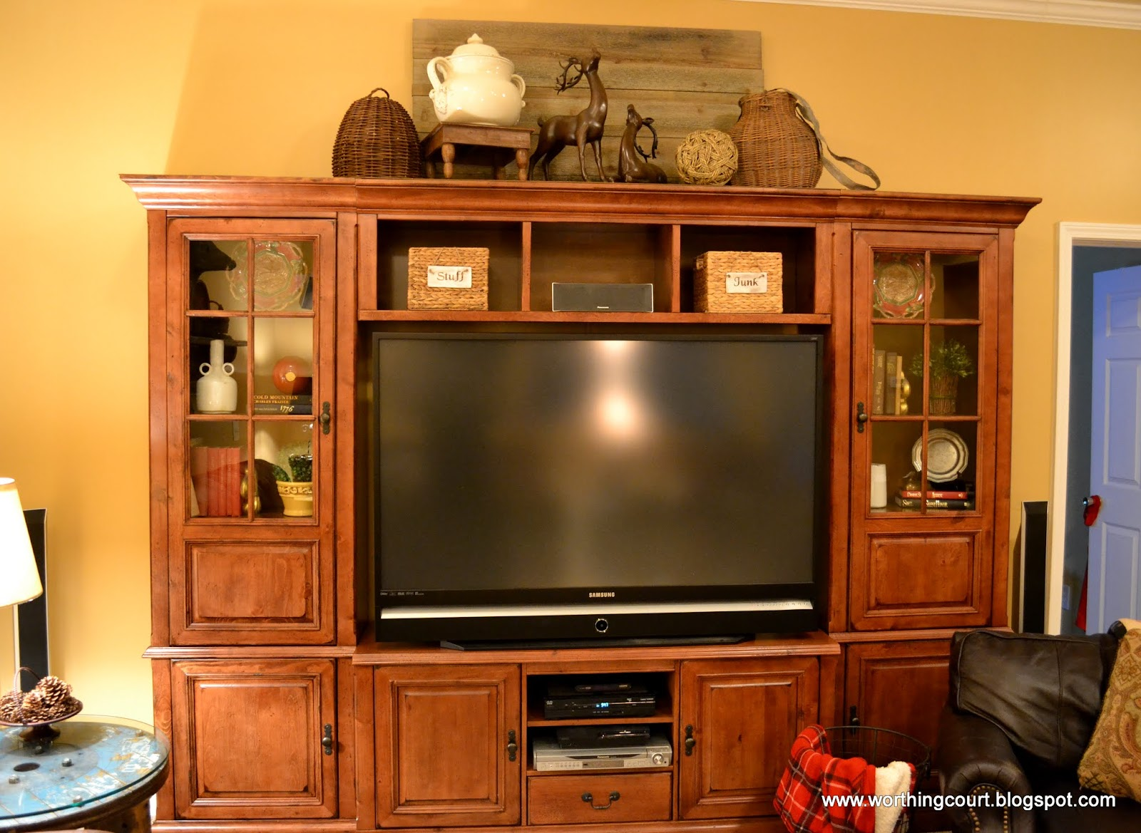 Decorating top of entertainment center pictures to pin on for Decorating entertainment center ideas