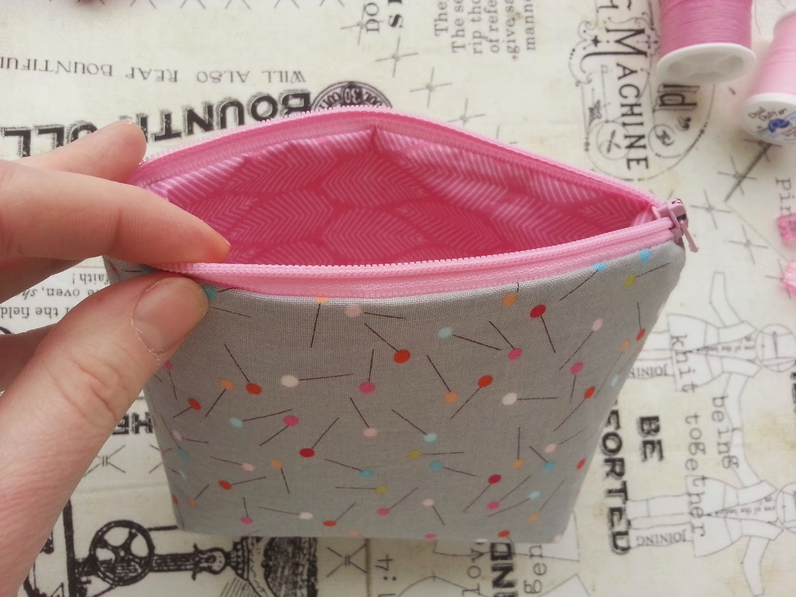little bitty pink zipper pouch