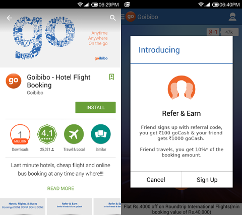 download and install goibibo app