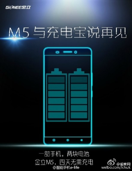 Gionee M5 with dual batteries totalling 6,000 mAh capacity promises 4-day battery life, will be soon
