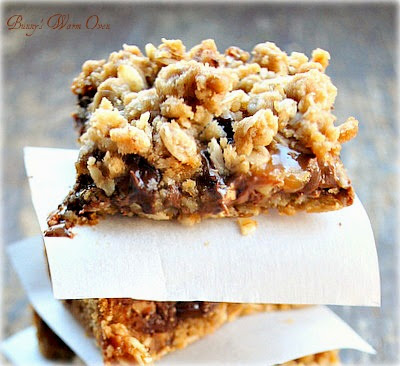 Buttery oats, 2 kinds of chocolate, caramel and pecans, man these are ...