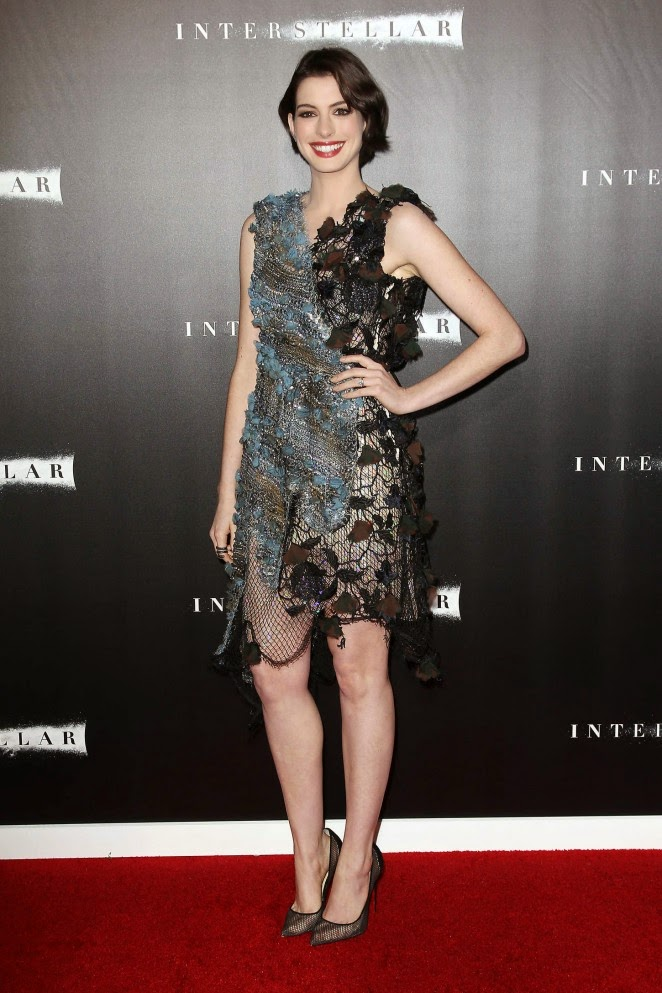 Anne Hathaway wears a Rodarte dress to the 'Interstellar' New York City premiere