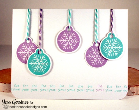 Tag ornament card by Jess Gerstner | Jolly Tags Stamp and Die Set by Newton's Nook Designs #newtonsnook