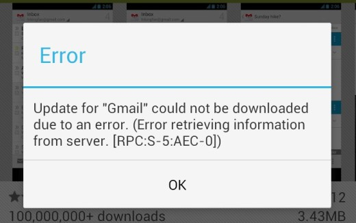 RPC ERROR GOOGLE PLAY