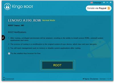 Cara Root Lenovo A390 dengan Kingo ROOT