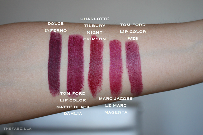 swatch dolce and gabbana dolce inferno, swatch tom ford lip color matte black dahlia, swatch charlotte tilbury crimson night, swatch burberry lip colver ruby, Dolce and Gabbana Matte Lipsticks, Review, Swatch