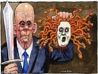 Rupert Murdoch & Rebekah Brooks by Steve Bell.