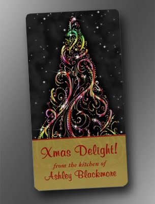 Swirly Christmas Tree Christmas Holiday Baking Labels