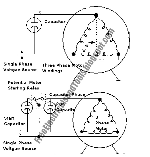 Swith for diagram enabling 3 phase motor to operates for How to run three phase motor on single phase supply
