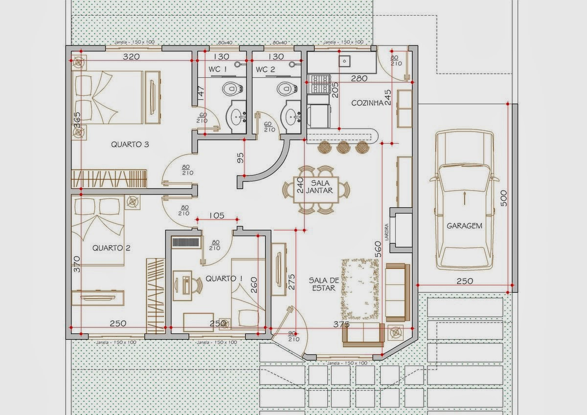 Lar doce lar planta casa com tr s quartos com rea for Casas modernas de 70m2