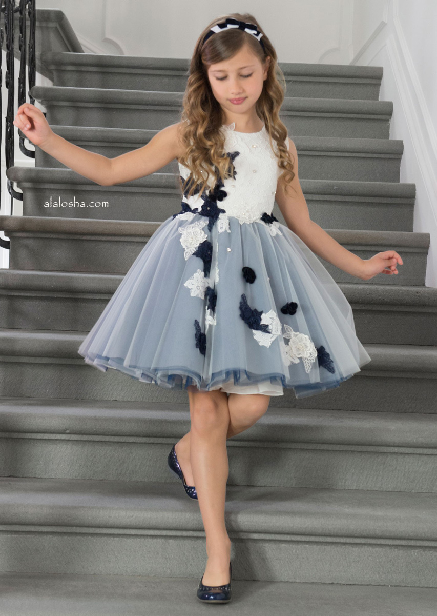 New season fw16 the lesy miracle dresses girls blue tulle and fabric flower dress by lesy luxury flower in celebration of the brands 50th anniversary this pretty design has short puffed sleeves izmirmasajfo Image collections