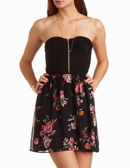 Strapless Lace & Floral Chiffon Dress