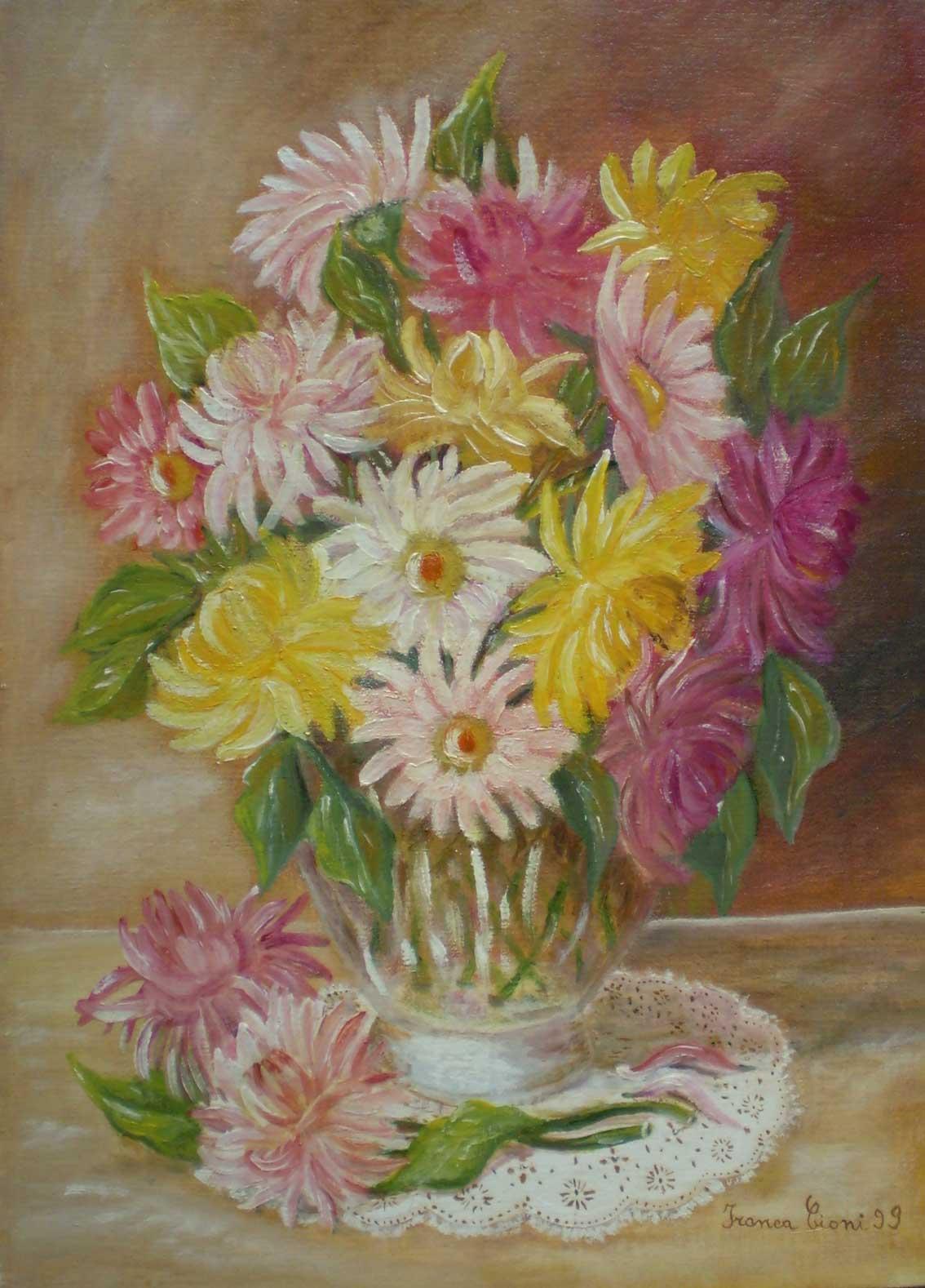 Franca cioni dipinti e poesie vaso con fiori for Vasi di fiori dipinti