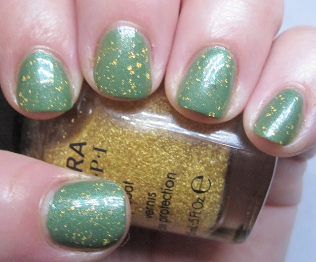Avon Garden Green with SOPI 18k gold topcoat