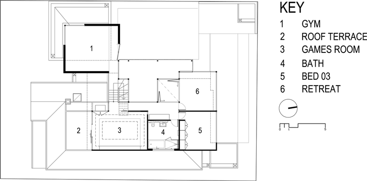 First floor plan of Dark Contemporary Home by Steve Domoney Architecture