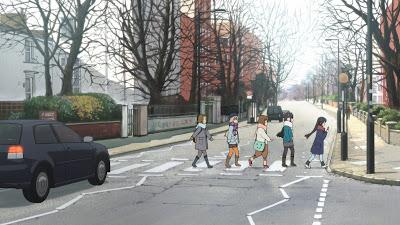 K-ON! La Pelicula frame 3. Yui, Mio, Ritsu, Tsumugi y Azusa cruzando Abbey Road.