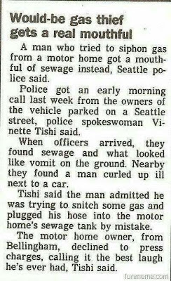 Would-be gas thief gets a real mouthful
