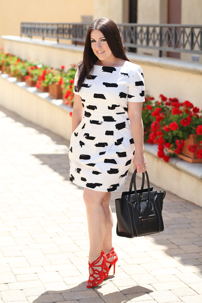 mac-creme-d'nude-black-and-white-french-connection-dress-king-and-kind-san-diego-blogger-celine-tote-zara-red-heels