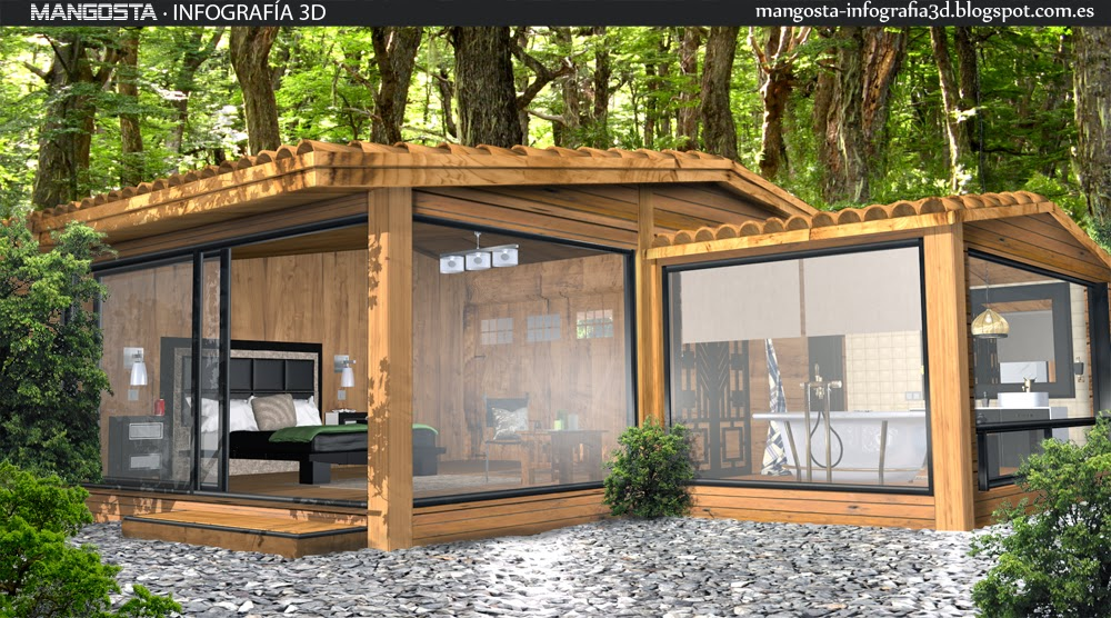 Mangosta infograf a 3d casa prefabricada madera - Interiores de casas prefabricadas ...