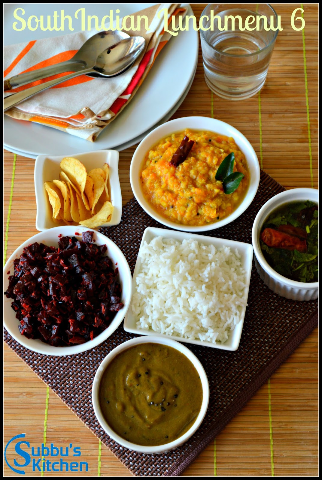 South Indian Lunch Menu 6 - Curryleaves Kuzhambu, Kottu Rasam, Beetroot Poriyal, Pumpkin Kootu