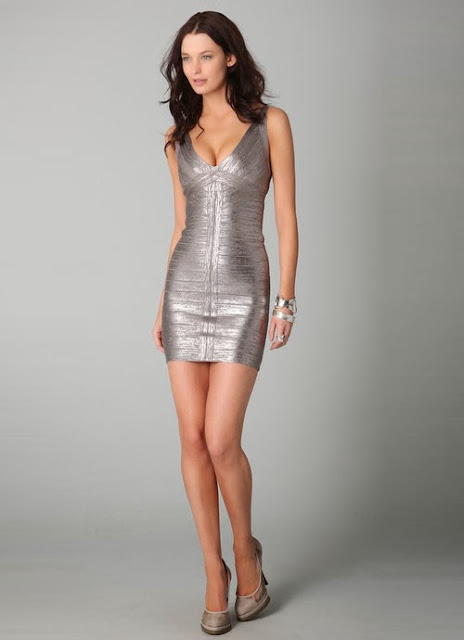 Fetish Fashion :  Herve Leger Iconic Metallic Bandage Dress